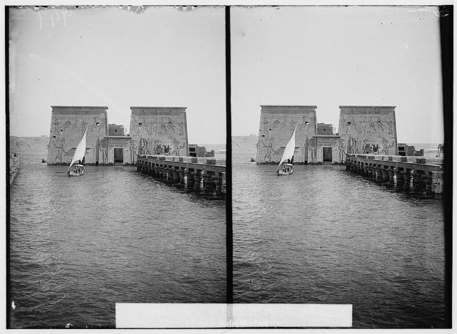 Egyptian views; Assuan and Philae. View of 1st pylon of Temple of Isis, Philae, looking N.