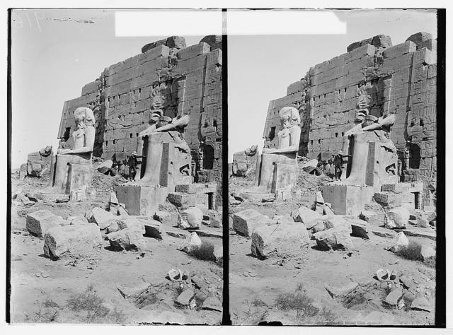 Egyptian views; Karnak. Statues of kings behind 8th pylon