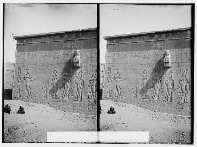 Egyptian views; Temple of Hathor, Dendera. Carvings on exterior wall