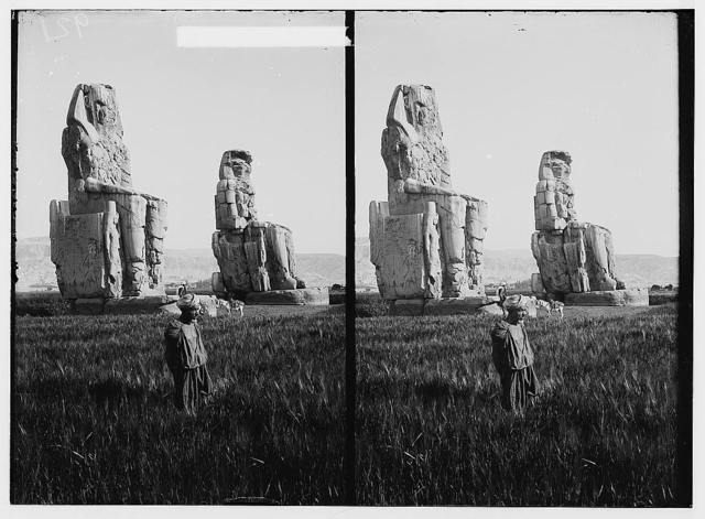 Egyptian views; Thebes. Colossi of Memnon
