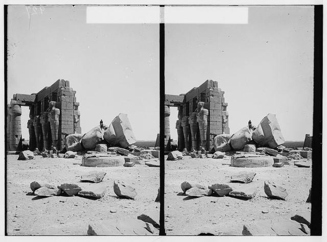 Egyptian views; Thebes. Colossus of Rameses [i.e., Ramses] II in the Ramesseum