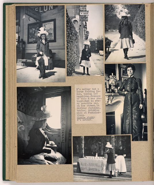 [Eleanor Butler Roosevelt as a young girl, posed on a sidewalk with hat and parasol and on a train in France, with one photo of her mother Grace Green Alexander]