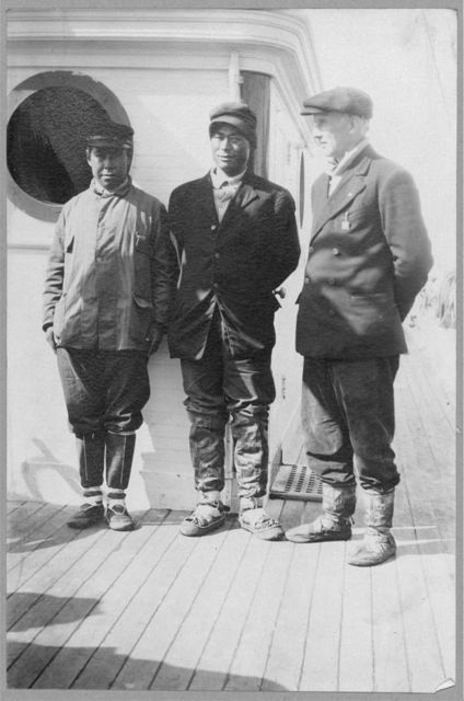 Eskimo boy in center who went with Mr. Lapp [i.e. Mr. William Thomas Lopp] on relief expedition in 1898, and now has 1,600 deer worth possibly $40,000 at $25 a deer