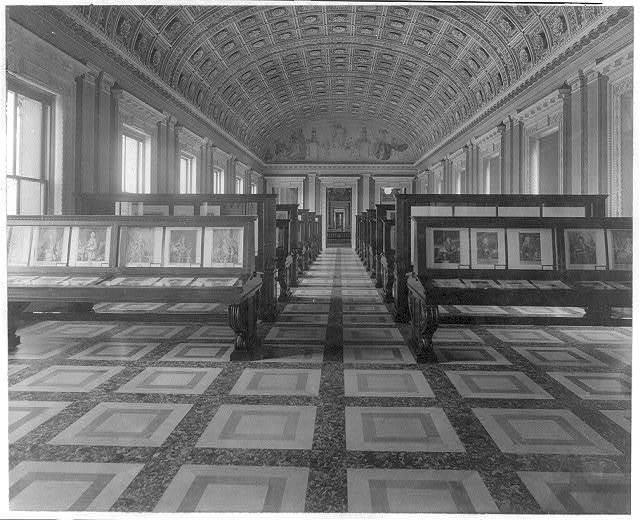 "[Exhibit area, second floor, southwest gallery, Library of Congress, looking towards mural called ""The Arts""]"