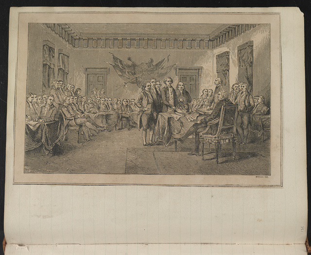 [Five-person drafting committee of the Declaration of Independence presenting the document to Congress on June 28, 1776] / Marsh sc.