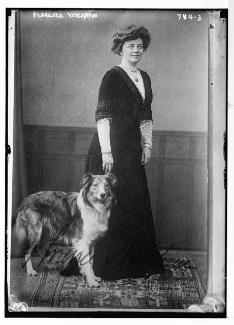 Florence Wickham, with dog