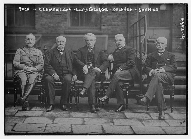 Foch, Clemenceau, Lloyd George, Orlando, Sonnino