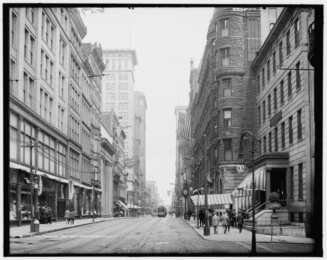 Fourth St. [i.e. Street], east from Race [Street], Cincinnati, O[hio]