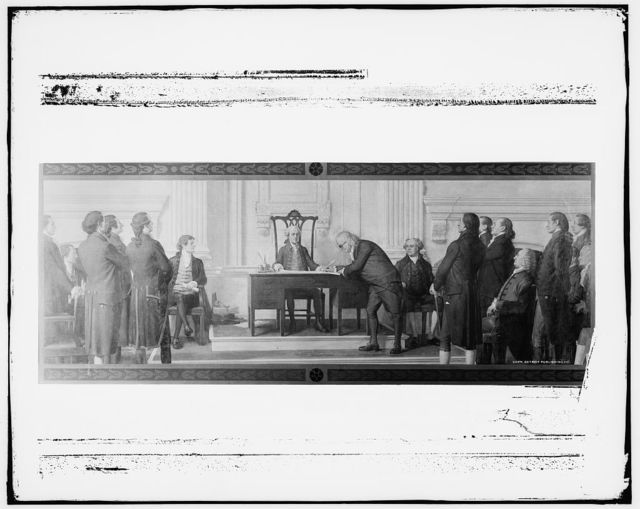 [Franklin signing the Declaration of Independence]
