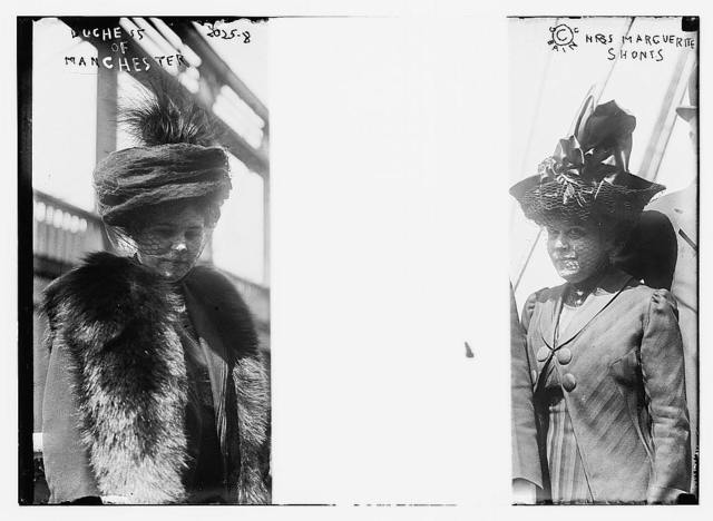 From left to right: the Duchess of Manchester;  the Duke of Manchester; Mrs. Marguerite Shonts