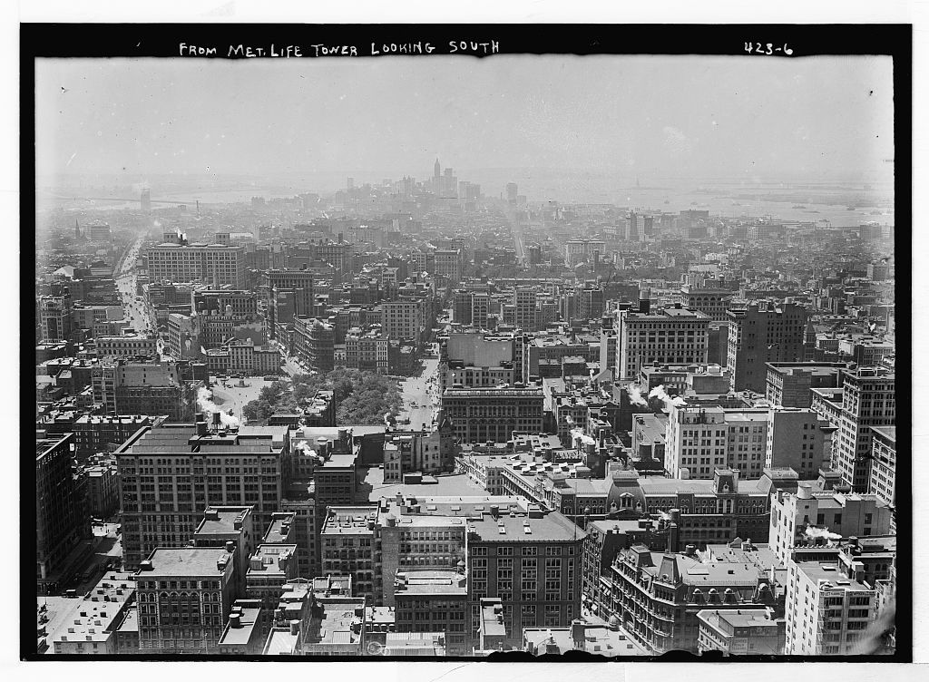 From Met. Life Tower looking south [toward Battery and New York Harbor, Manhattan]