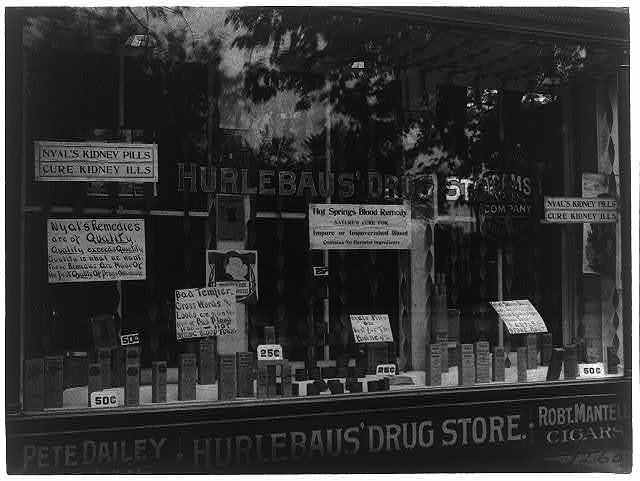 Front window - Hurlebaus' Drug Store
