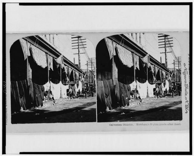 Galveston disaster, merchants drying goods after flood