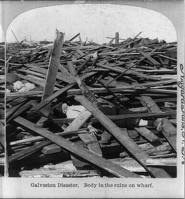 Galveston Disaster, Texas: body in the ruins on wharf