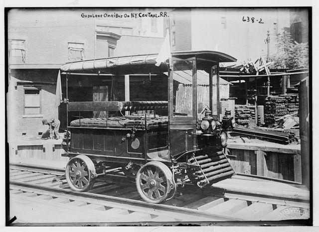 Gasolene [i.e. gasoline] omnibus on rails, N.Y. Central R.R.