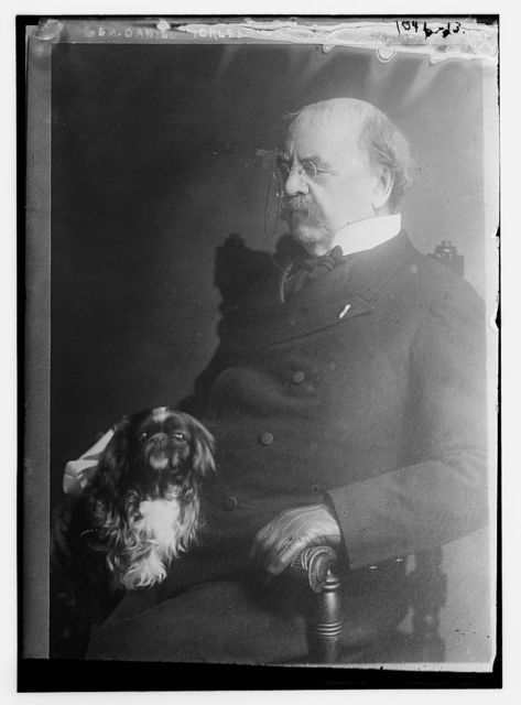 Gen. Daniel Sickles seated with dog
