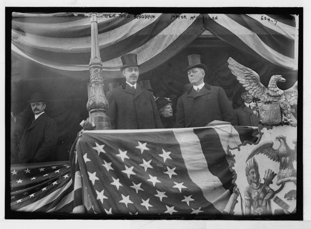 Gen. Theo. Bingham and Mayor McClellan on flag bedecked podium, New York