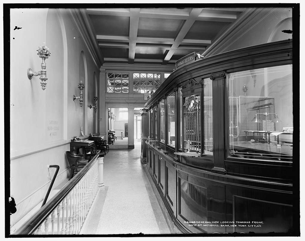 General view looking towards front, 34th St. Thirty-fourth Street National Bank, New York City