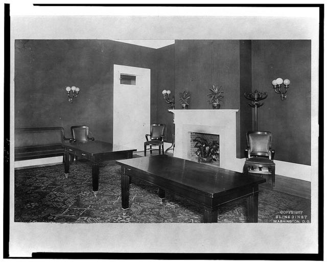 [General view of room with tables and fireplace in the White House, Washington, D.C.]