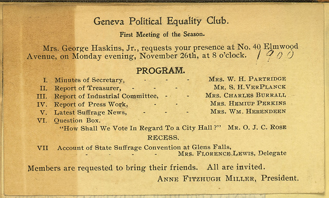 Geneva Political Equality Club meeting notice, home of Mrs. George Haskins
