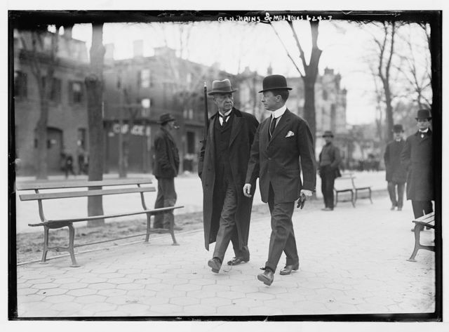 Gen.Hains and Maj. Hains, walking outside courthouse, Flushing, N.Y.