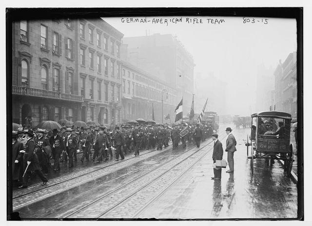 German-American Rifle Team, in parade, New York