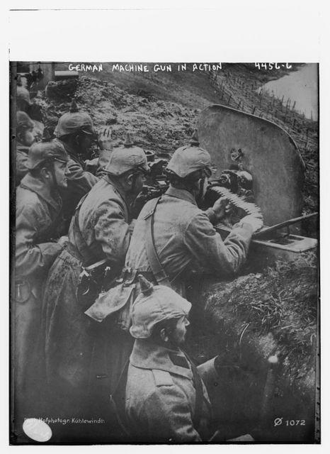 German machine gun in action