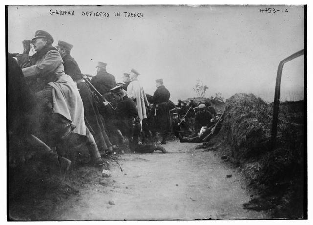 German officers in trench