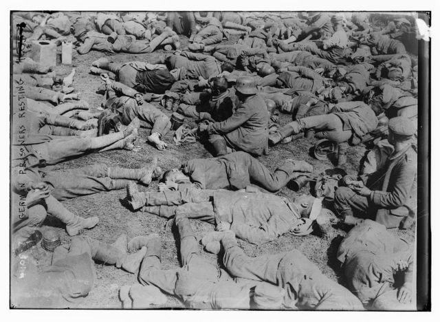 German prisoners resting