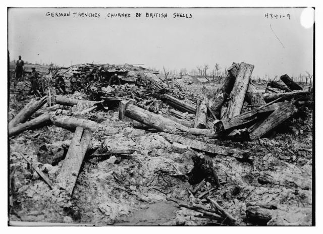 German trenches churned by British shells