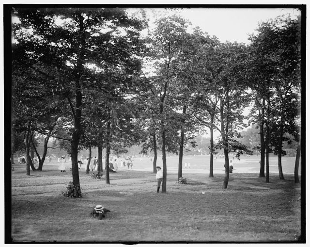 [Going to band concert, Lincoln Park, Chicago, Ill.]