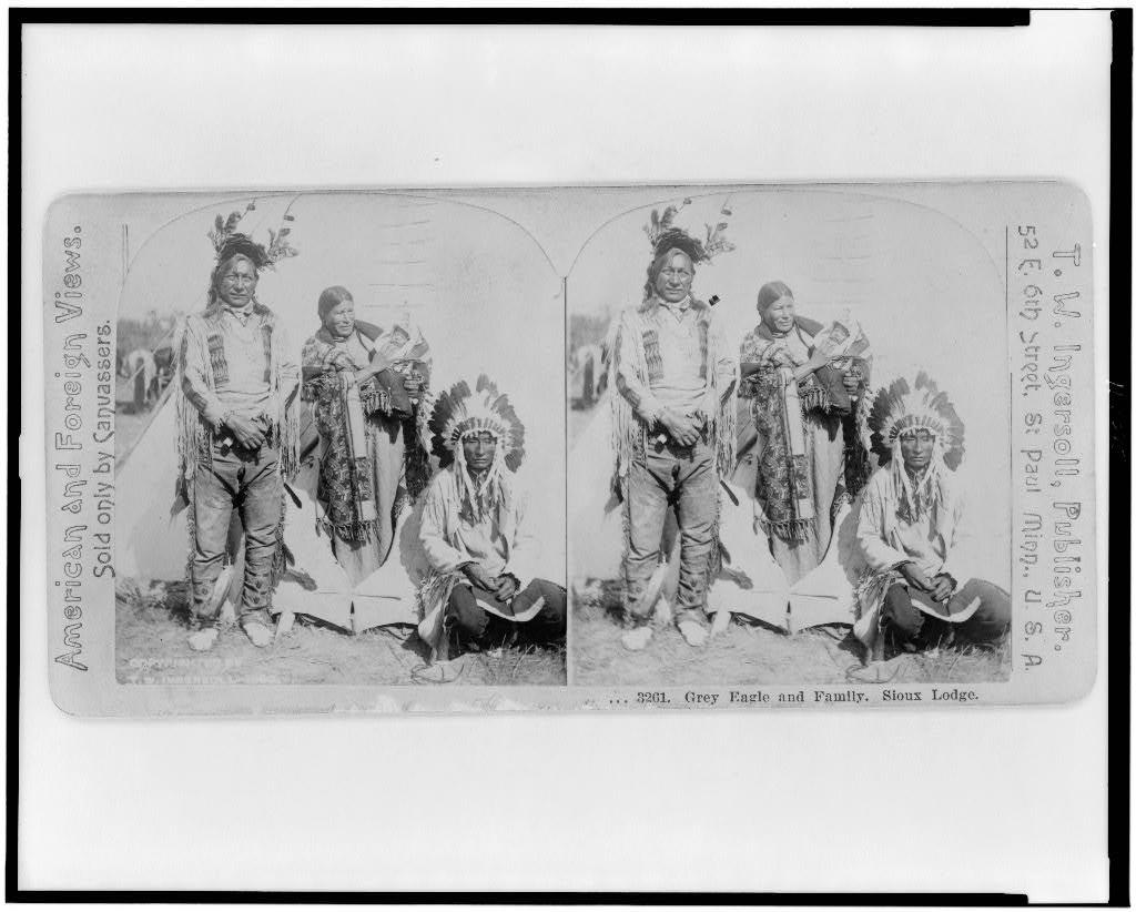 Grey Eagle and family, Sioux lodge