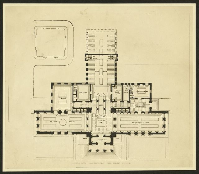 Ground floor plan, Pawtucket Public Library building