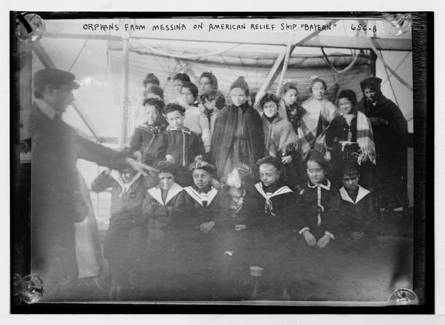 """Group of orphans from Messina, shown on American relief ship """"Bayern"""""""