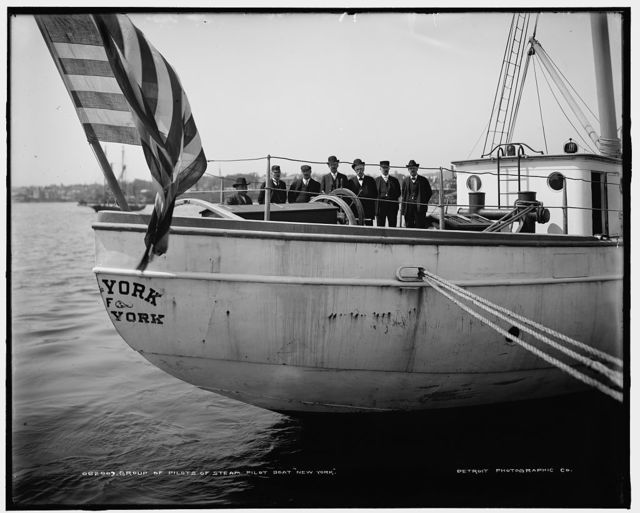 Group of pilots of steam pilot boat New York