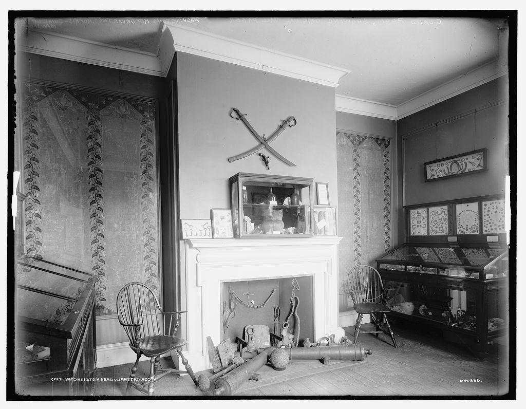 Guard room showing original wallpaper, Washington's headquarters, Morris Jumel Mansion