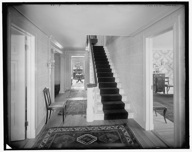 [Hall and stairway, probably in clubhouse, New York City]