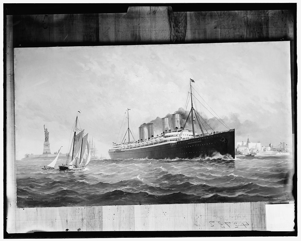 [Hamburg-American S.S. Co., S.S. Deutschland leaving New York harbor]