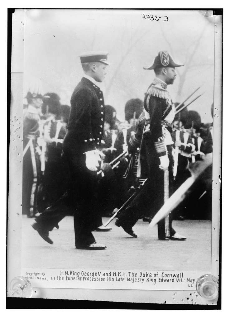 H.M. King George V and H.R.H. the Duke of Cornwall in the funeral procession of the Late King Edward VII