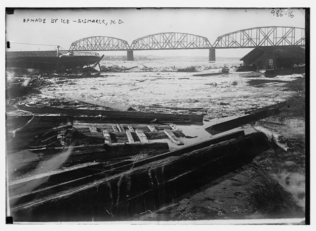 Ice-choked river and damage caused by ice, Bismark, N.D.