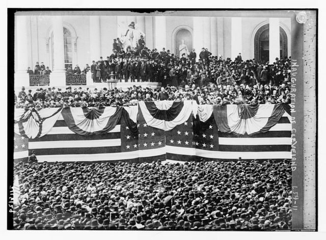 Inauguration of Cleveland - flag bedecked podium and crowd