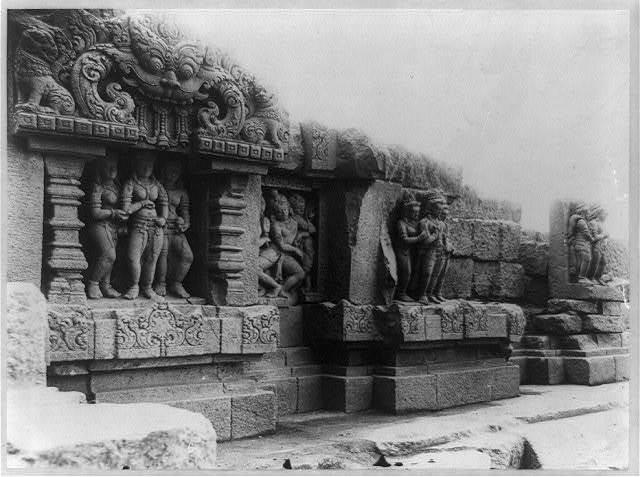 Indonesia - Java- Jogjakarta [i.e. Yogyakarta]. Temple ruins - details of sculpted figures