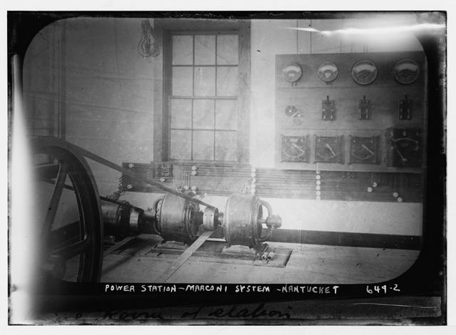 Instruments inside Marconi power station, Nantucket, Mass.