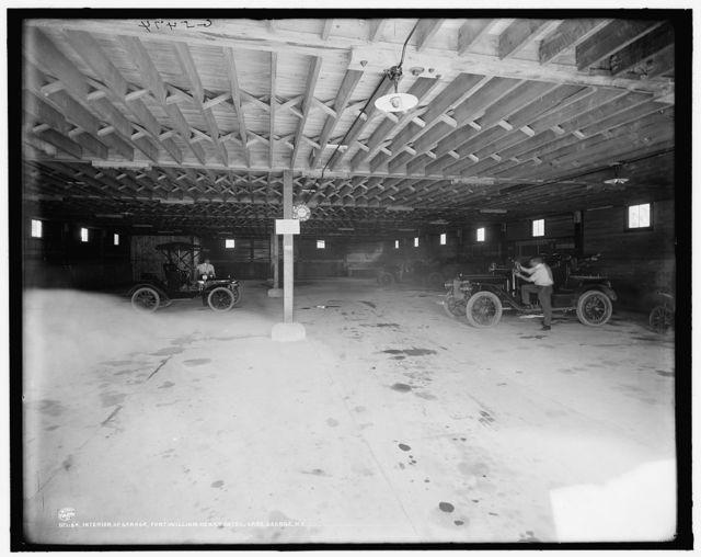 Interior of garage, Fort William Henry Hotel, Lake George, N.Y.