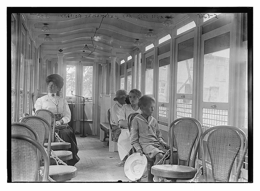 Interior of monorail car, City Island