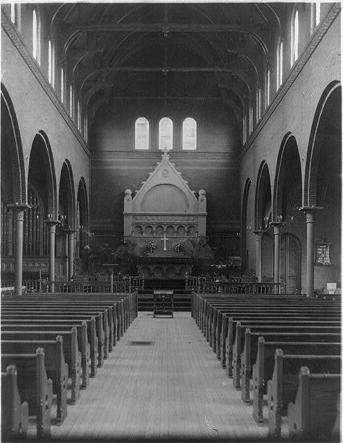 [Interior of St. Marks church, Washington, D.C. - view down center aisle toward altar]