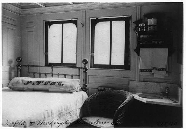 [Interior view of steamboat cabin]
