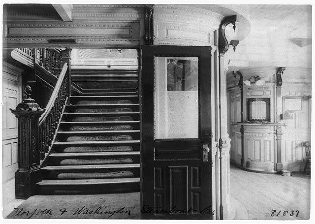 [Interior view of steamboat showing stairway and pursers office]