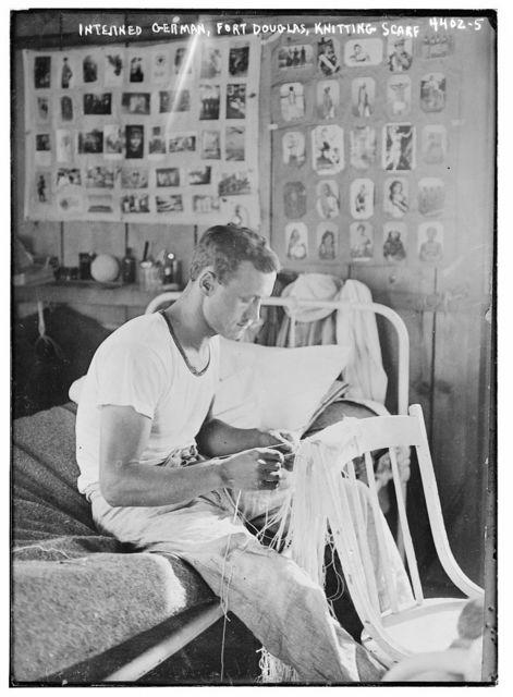 Interned German, Fort Douglas, knitting scarf