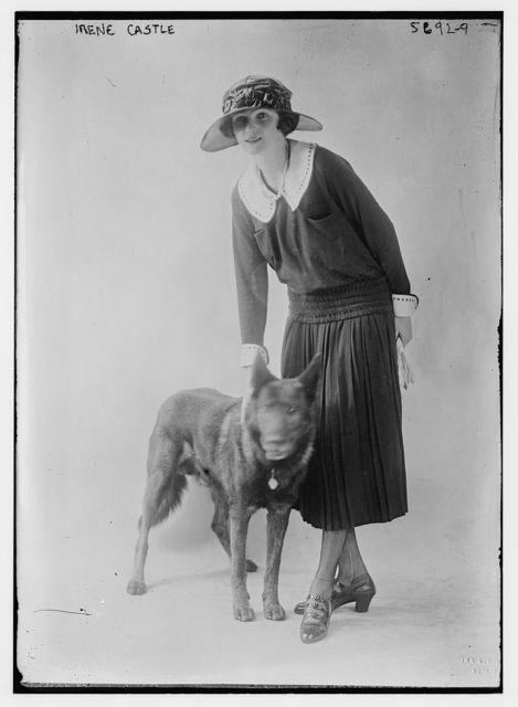 Irene Castle with pet dog